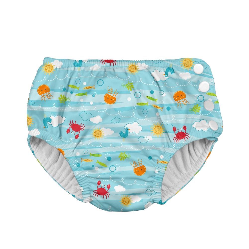 I play Fun Snap Reusable Absorbent Swimsuit Diaper in Light Aqua Sea Friends