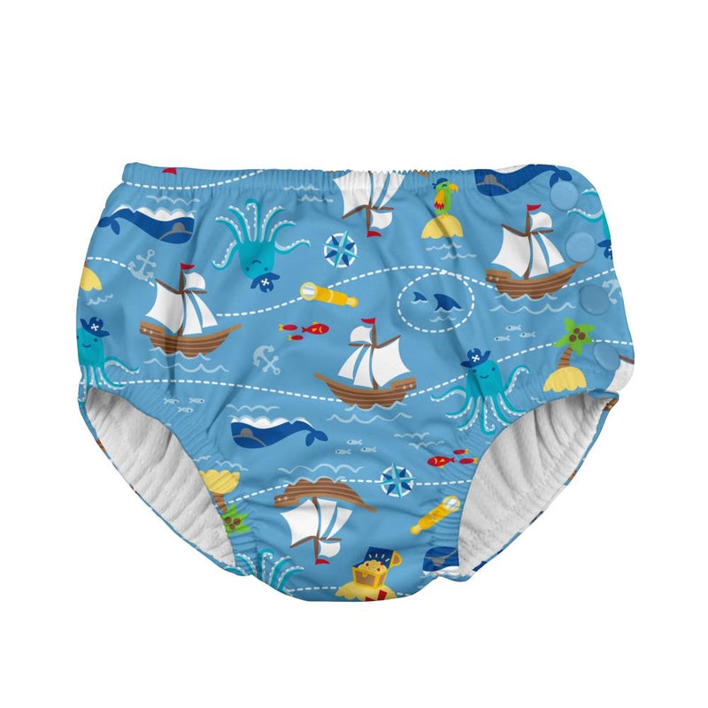 I play Mix & Match Snap Reusable Absorbent Swimsuit Diaper in Light Blue Pirate Ship