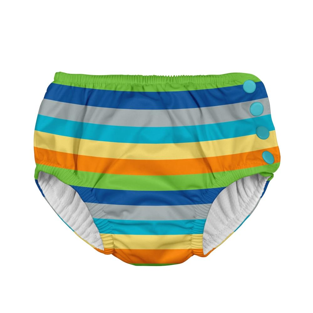 I play Mix & Match Snap Reusable Absorbent Swimsuit Diaper in Gray Multistripe