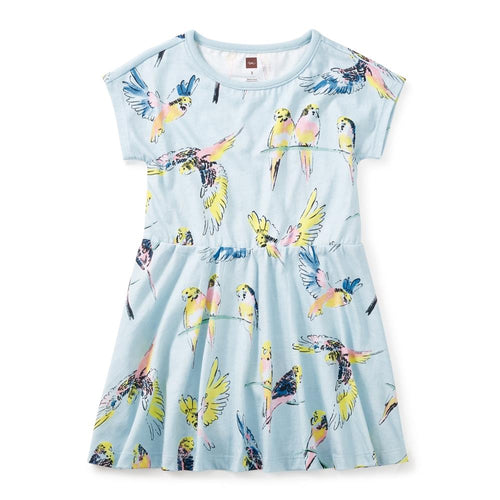 Tea Collectionted Lorikeet Skirted Dress in Ocean Mist