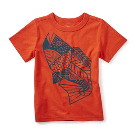 Tea Collection Fresh Fish Graphic Tee in Coral Red