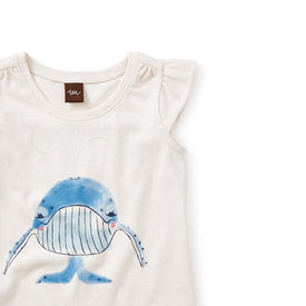 Tea Collection Blue Whale Graphic Tee in Chalk