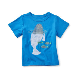 Tea Collection Dugong Graphic Tee in Island Blue
