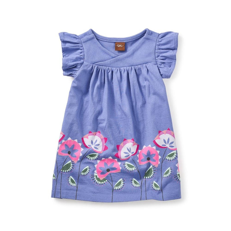 Tea Collection Amby Wrap Neck Baby Dress in Han Purple