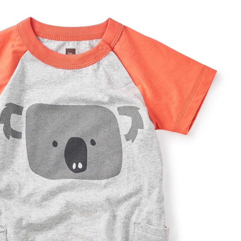 Tea Collection Koala Pocket Romper in Storm Grey Heather