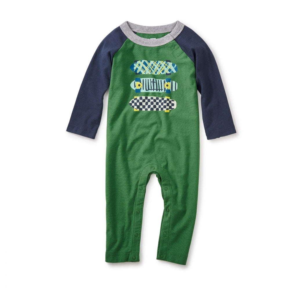 Tea Collection Finnieston Graphic Romper in  KELLY GREEN