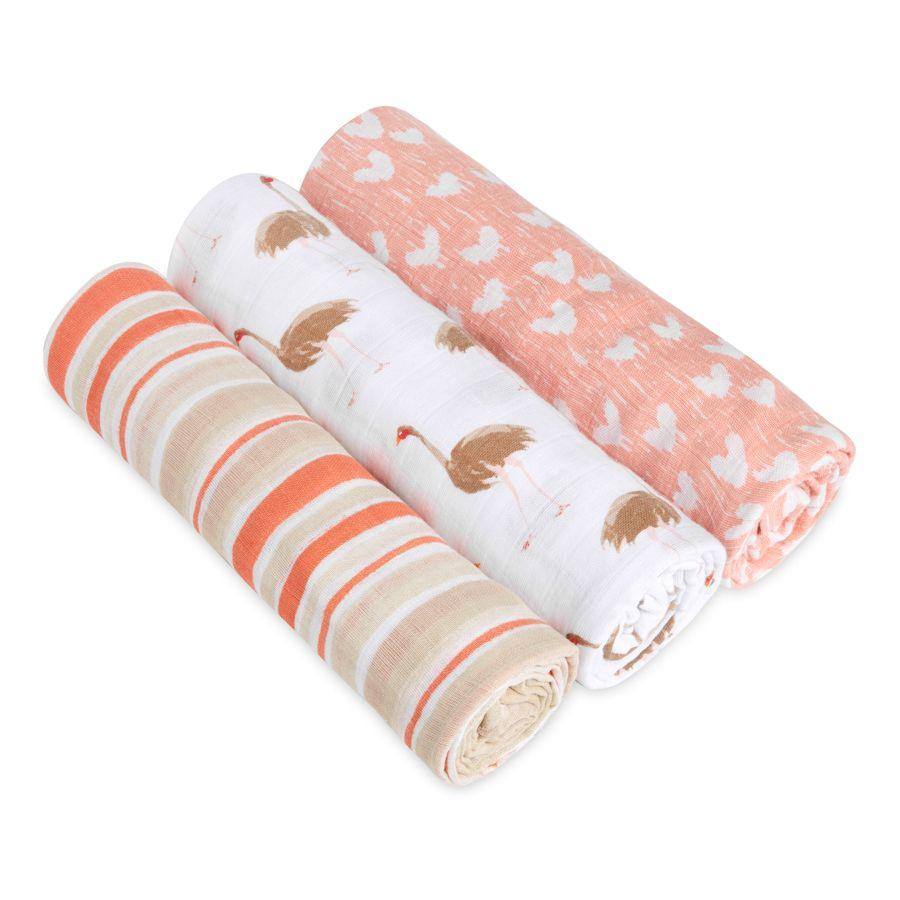 Aden + Anais White Label Silky Soft Swaddles - Flock Together 3pack