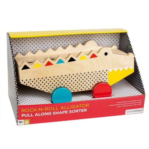 Petit Collage Alligator Wooden Rolling Shape Sorter & Pull Toy