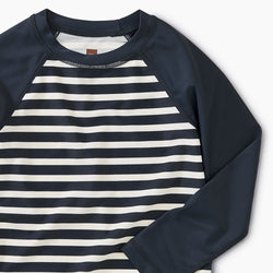 Tea Collection Outrigger Stripe Rash Guard in  Indigo
