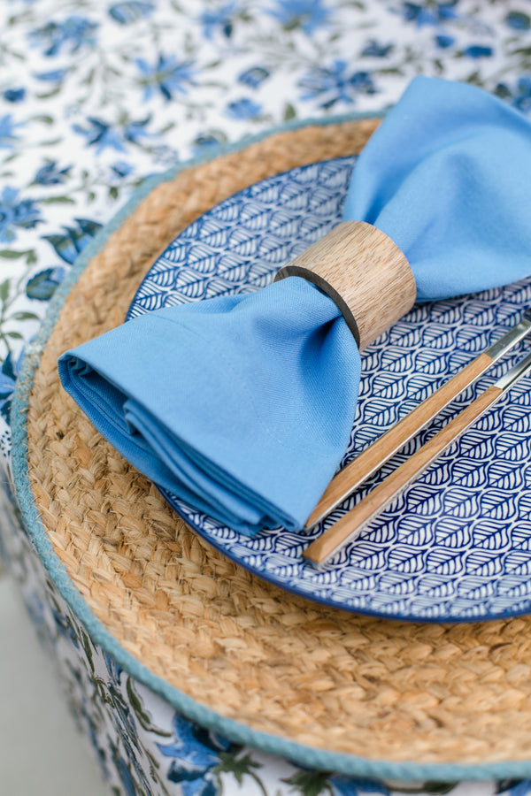 Jute Placemat with Light Blue Border