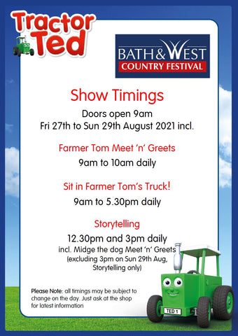 Tractor Ted Bath and West Show timings