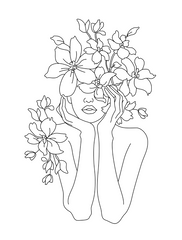 Line Drawing Girl With Flowers Pinterest