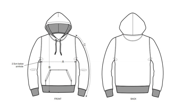 Regular Fit Hoodie Size Chart