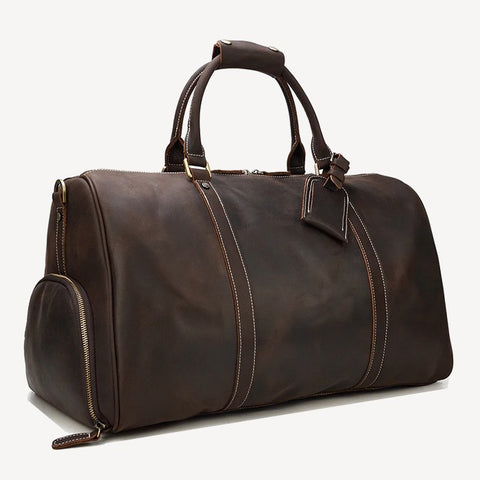 Cheops leather travel bag dark brown