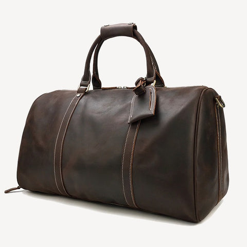 vintage leather weekend duffel bag