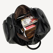 Leather Travel Bag Black Large