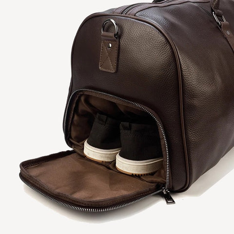Leather travel bag mens