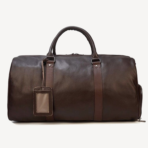 Leather travel duffel bag brown