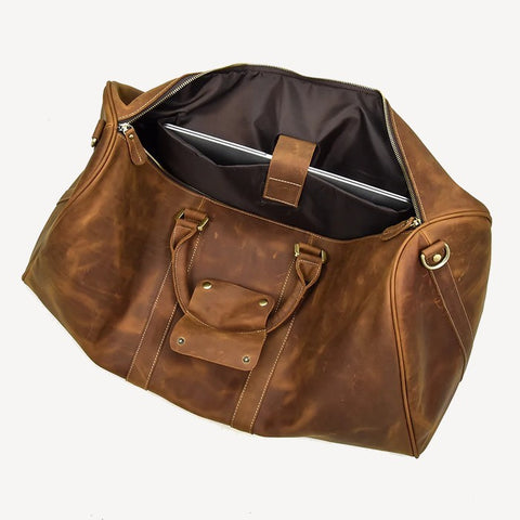 Leather Duffel Bag Open
