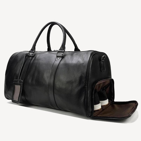 Travel Bag Leather Black with pocket shoes