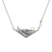 Chevron Mountain Sun River Forest Necklace For Nature Outdoor Lovers