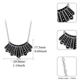 925 Sterling Silver Collar Necklace Earrings Dangle Drop Hook Necklaces Gifts for Fans Women RBG