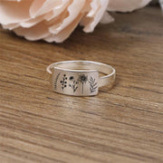 S925 Sterling Silver Wildflower Nature Ring Flower Ring
