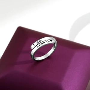 Thin Wrap 925 Sterling Silver 'I Am Enough' Ring