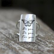925 Silver Inspirational Ring Be you Do you For you/It's Never Too Late/Today,I Choose Joy Motivational Jewelry Gift