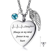 Stainless Steel Custom Messages Ashes Urn Pendant Necklace Heart-Shaped Cremation Jewelry