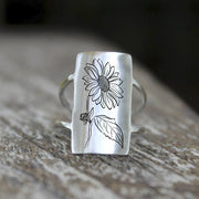 S925 Silver Sunflower Daisy Nature Ring Jewelry Gift For Nature Lovers