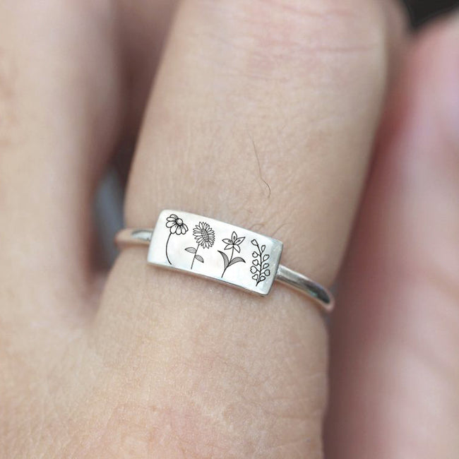 Spring Flower Ring 925 Sterling Silver Wildflowers Ring Nature Ring Gift For Nature Lovers