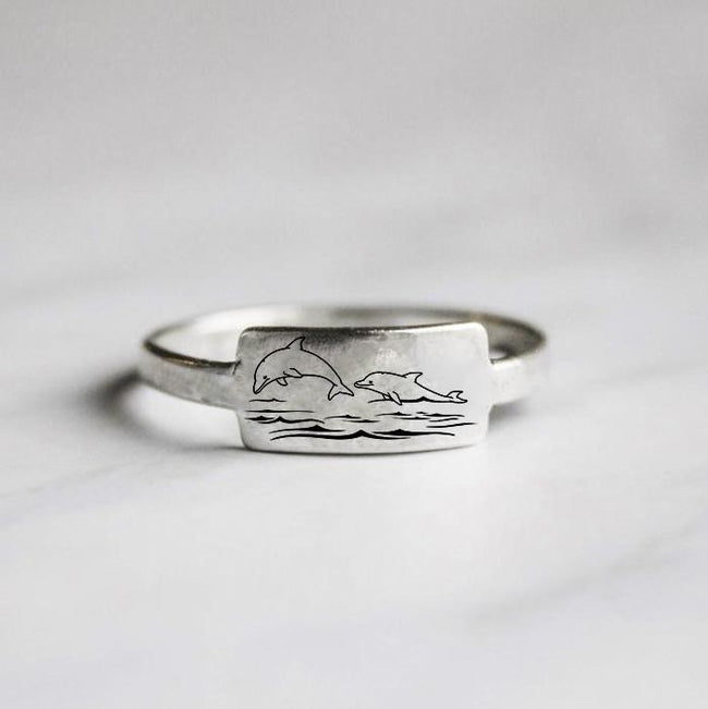 S925 Sterling Silver Dolphin Ring Two Dolphins Animal Ring