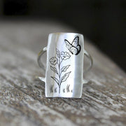 S925 Sterling Silver Flower Ring Butterfly Bee Dragonfly Ring Jewelry Gift For Nature Lovers