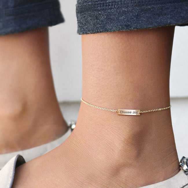 925 Sterling Silver Personalized Bar Anklet Initial Anklet Name Anklet Date Anklet Custom Anklet