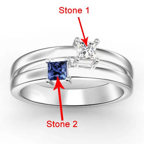 Personalized Birthstone Promise Ring With Engraving Silver