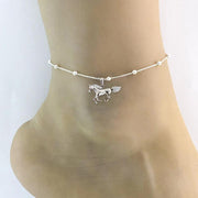Horse Anklet, Sterling Silver Beaded Ankle Bracelet, Good Luck Charm Jewelry, Horseback Riding Anklet, Anklet Chain, Women Jewelry