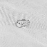 925 Sterling Silver Sun Ring Crescent Moon Ring Sunrise Ring Gift for Women Girl