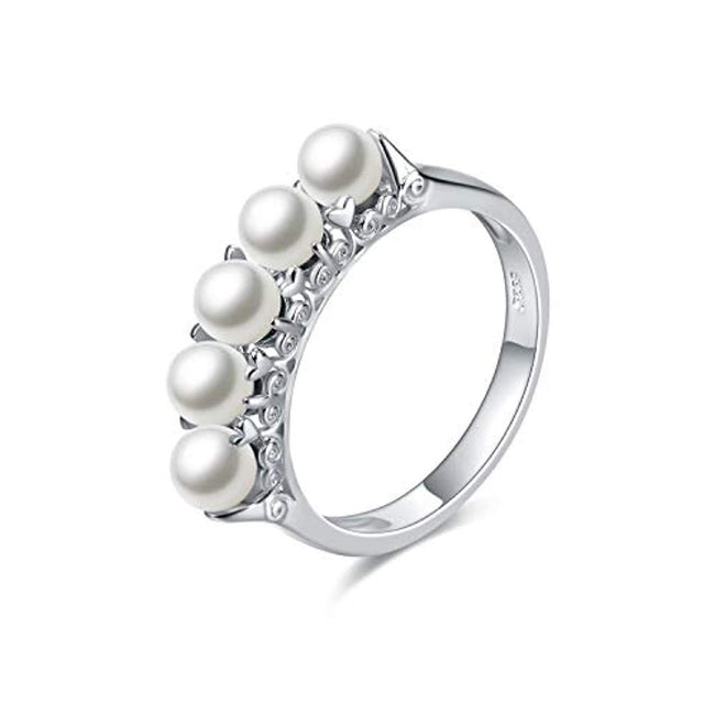 925 Sterling Silver Round Pearl Rings for Women Wife Girlfriend Weddings