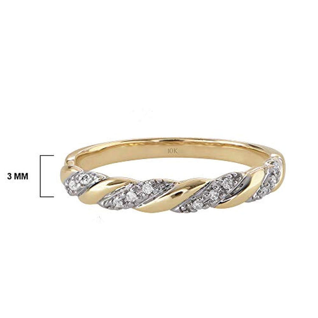 10K Yellow or White Gold 0.06 Cttw Conflict Free Diamond-Accented Twist Wedding or Anniversary Band for 10th Wedding Anniversary(I-J Color, I2-I3 Clarity)