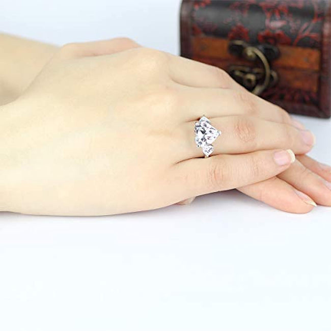 Women 925 Sterling Silver 6 Carats Heart Cut White Cubic Zirconia Cz Engagement Wedding Ring