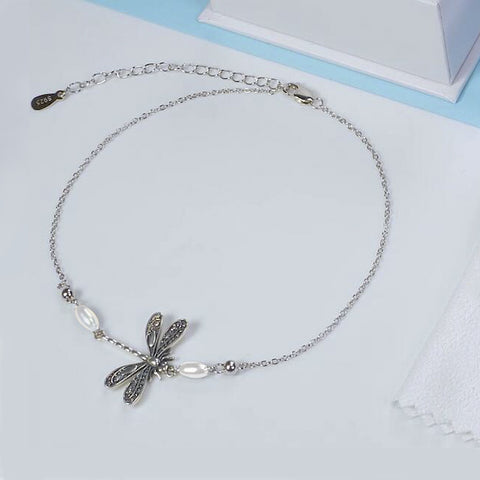 Silver Dragonfly Anklet Adjustable little Dragonfly Jewelry Summer Gift S925 Sterling Silver