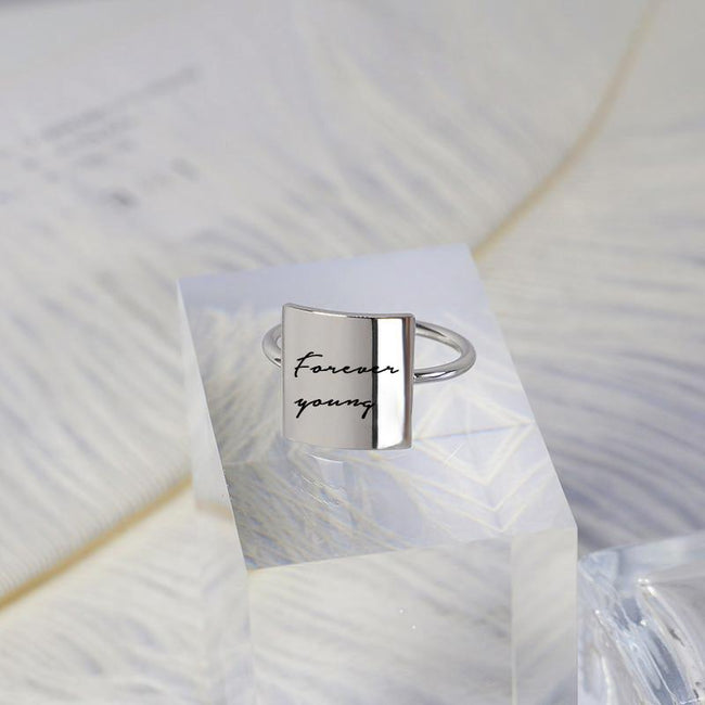 925 Sterling Silver Forever Young Ring Personalized Inspirational Ring