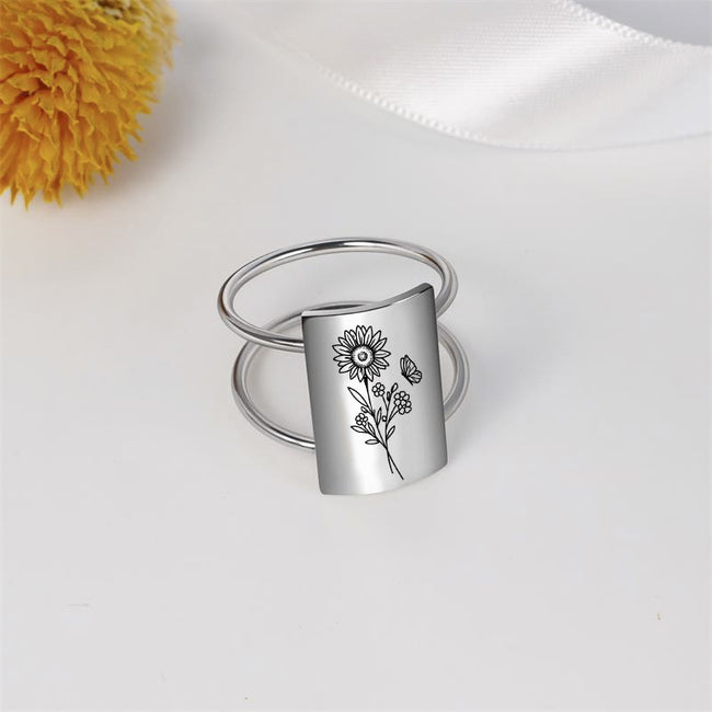 Spring Wildflowers Ring 925 Sterling Silver Butterfly Ring Flower Ring Jewelry Gift For Women Girl