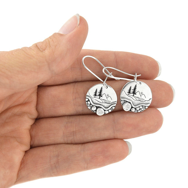 Forest Pebble Trail  Mini Forest Pebble Trail Wildflower Earrings