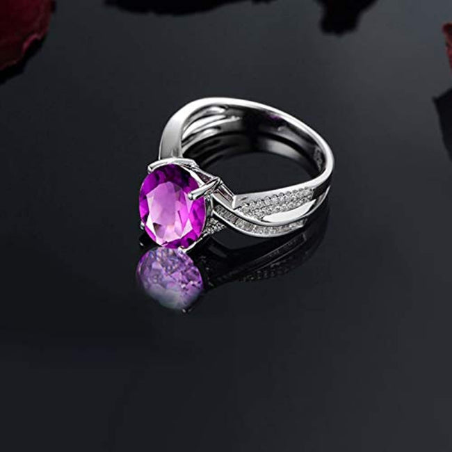 925 Sterling Silver Womens Wedding Band Purple Oval Cut Zircon Classic Statement Ring