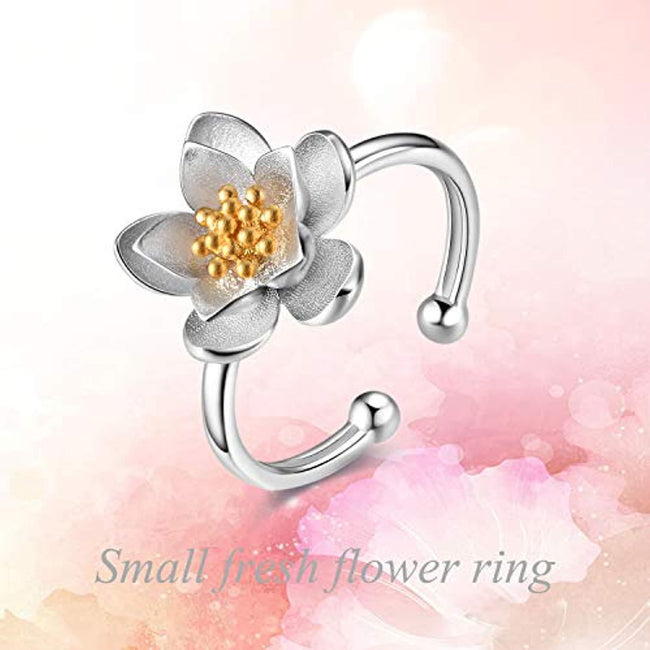 [Hummingbird & Lotus] Sterling Silver Adjustable Rings Christmas Jewelry Gifts for Women Teens Girls