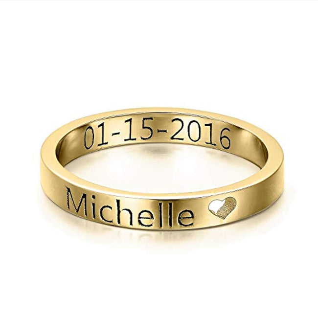 Custom Name Ring Personalized Engraved Heart Stackable Coordinates Date Band Ring Jewelry Gift for Women Men, Size 5-10