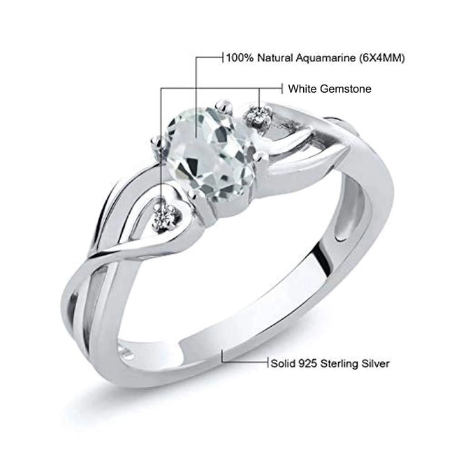 925 Sterling Silver Sky Blue Aquamarine and White Gemstone Women's Ring for 10th Wedding Anniversary 0.44 Ct Oval