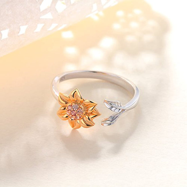 S925 Sterling Silver Sunflower Ring  Jewelry for Women